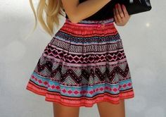 Skirt: hippie high waisted tribal pattern aztec shirt colours black purple blue red orange bohemian