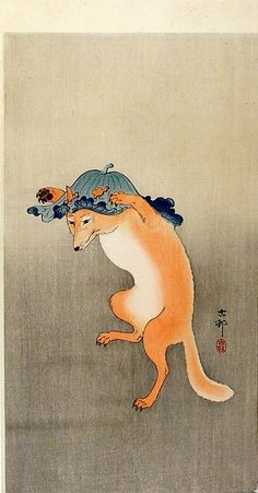 Ohara Koson (1877 – 1956)    A dancing fox with a large leaf on his head,  1915  //