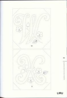 haft matematyczny - Lirubrico - Picasa Web Albums - Bloemletters W en X Embroidery Cards, Embroidery Monogram, Embroidery Patterns, Hand Embroidery, String Art Letters, String Wall Art, Card Patterns, Stitch Patterns, Iris Folding Pattern