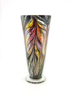 Hand Blown Art Glass Vase  Iridescent Amber by ParadiseArtGlass
