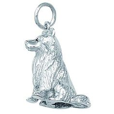<li>Charm is crafted of sterling silver <li>Jewelry depicts a large collie dog <li>Charm features a jump ring that can be attached to any bracelet or chain