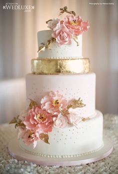 WedLuxe: pink and gold cake