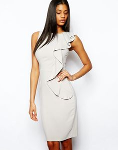 Buy ASOS Pencil Dress With Asymmetric Ruffle at ASOS. Get the latest trends with ASOS now. Asos, Pencil Dress, Peplum Dress, Day Dresses, Dresses For Work, Bridesmaid Inspiration, Affordable Dresses, Moda Online, Frocks