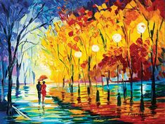 """Night Stroll"" by Slava Ilyayev - Park West Gallery Small Canvas Art, West Art, Floral Artwork, Palette Knife Painting, Buy Art Online, Art Auction, Love Art, American Art, Abstract Art"