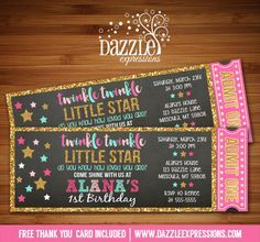 Printable Chalkboard Twinkle Twinkle Little Star Ticket Birthday Invitation | Pink, Gold Glitter, Mint | Do you know how loved you are | 1st, 2nd, 13th, 16th Birthday Party | DIY | Digital File | Available for a Baby Shower, just ask! | Matching Printable Party Package Decor | Banner | Cupcake Toppers | Favor Tag | Food and Drink Labels | Signs | Candy Bar Wrapper | www.dazzleexpressions.com