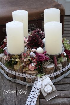 20 inšpirácií na krásne adventné vence, ktoré si môžete urobiť aj vy Christmas Advent Wreath, Christmas Candles, Christmas Centerpieces, Christmas Crafts, Christmas Decorations, Advent Wreaths, All Things Christmas, Christmas Holidays, Beautiful Candles