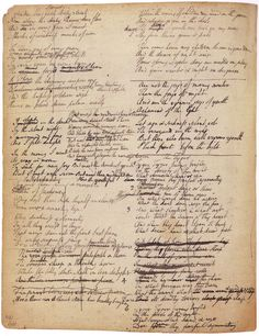 """laudanumforbreakfast: """" The Romantic creative process: how the great poems began on the page (and in what illegible handwriting.) Original manuscript drafts of poems by William Blake, Lord Byron, John. William Blake, Great Poems, Commonplace Book, Jean Baptiste, Writers Write, Write It Down, Romanticism, British Library, Handwriting"""