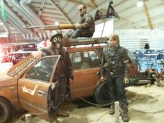 My show team with postapocalyptic costumes on Post Apocalyptic, Costumes, Cars, Dress Up Clothes, Fancy Dress, Autos, Car, Automobile, Men's Costumes