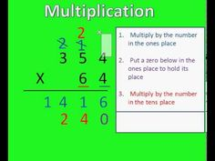 This tutorial gives the rules for multiplying a 3 digit number and a 2 digit number. It also shows how to complete a sample problem. For more math tutorials ...