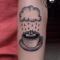 Mini Tattoos, Black Tattoos, Susanne Konig, Tea Tattoo, Rain Tattoo, Unique Forearm Tattoos, Tribute Tattoos, Dibujos Tattoo, Coffee Tattoos