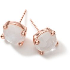Ippolita Rock Candy Rose Mini Stud Earrings (525 CAD) ❤ liked on Polyvore featuring jewelry, earrings, accessories, pearl, clear crystal earrings, rock earrings, clear stud earrings, 18 karat gold stud earrings and rose stud earrings