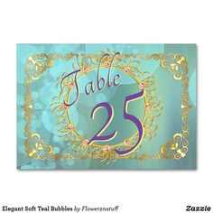 Shop Elegant Soft Teal Bubbles Table Number created by Flowerznstuff. Gold Wedding Theme, Beautiful Wedding Invitations, Wedding Matches, Elegant Wedding, Card Table Wedding, Wedding Table Numbers, Engagement Ideas, Wedding Engagement, Wedding Bubbles