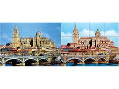 Fliesenbild - Links Original - Rechts Handgemalt