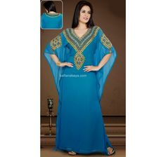 Get The Simplicity & Grace With This Blue Faux Georgette Embroidered Arabic Kaftan