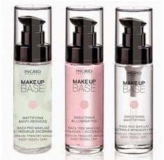 Ingrid Make-Up Base Pregatirea tenului pentru machiaj este prima si poate cea mai importanta etapa in obtinerea celui mai bun rezultat in materie de makeup. Alege dintre cele 3 variante: anti-roseata, iluminatoare sau emolienta si matifianta.