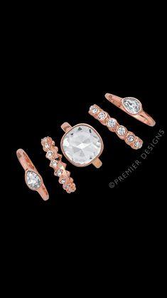Set of 5 Rings called Sienna!Yep you get all 5! #rosegold #premierdesigns #pdstyle