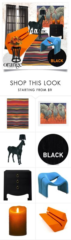 """""""Black and Orange Eclectic"""" by capricat ❤ liked on Polyvore featuring interior, interiors, interior design, home, home decor, interior decorating, Brink & Campman, Moooi, Sleep In Rollers and Bungalow 5"""