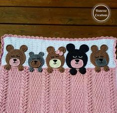 crochet teddy bears This blanket is full of texture and Teddy Bears all snuggled in for the night with sleepy eyes and their paws cuddling the blanket. Baby Afghan Crochet Patterns, Bobble Crochet, Baby Sweater Knitting Pattern, Crochet Teddy, Baby Girl Crochet, Baby Blanket Crochet, Crochet For Kids, Crochet Feather, Bear Blanket