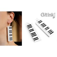 Piano earrings Music jewelry Keyboard earrings Long chunky earring Music instrument jewelry Big modern earring Musician gift Black and white (54 BGN) found on Polyvore