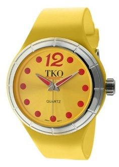 TKO ORLOGI Women's TK531-YL Candy Collection Fun Colorful Rubber Watch TKO. $95.00. Durable mineral crystal. Precise Japanese-quartz movement. Water-resistant to 99 feet (30 M). Case diameter:  40mm. One piece rubber case and band in yellow; sunray blue dial with pink dot markers and matching hands; stainless-steel bezel