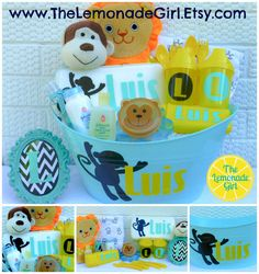 Personalized Baby Gift Basket Dont see the theme you would like? We can create it for you to match any theme.    Each basket will be personalized