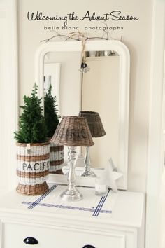 From Belle Blanc. cute lamp. I love the whole set up.