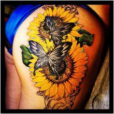 Sunflower and the Butterflies