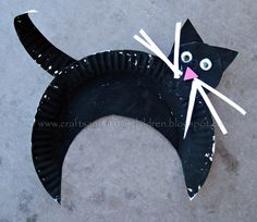 Paper Plate Black Cat Craft for Halloween
