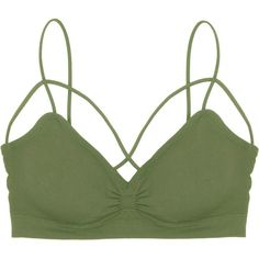 62d0aa6d18 Humble Chic NY Caged Front Sports Bra (410 MXN) ❤ liked on Polyvore  featuring olive