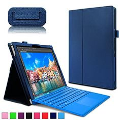 very cool  Microsoft Surface Pro 4 Case - Infiland Premium PU Leather Folio Stand Case Cover for Microsoft Surface Pro 4 12.3-inch Windows 10 Pro Tablet Only (Not Fit Microsoft Surface Pro 3 12-Inch), Navy