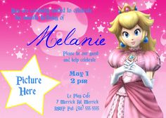 Princess Peach Birthday Invitation 5x7 Or By VIVICoutureDesigns 1200
