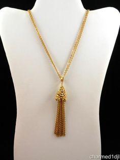 "Vintage MONET Gold Tone Tassel Necklace DBL Strand 28""L #Monet #Pendant SOLD"