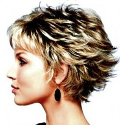 result for Cute Short Layered Haircuts for Women Over 50 Back View Short Layered Curly Hair, Shaggy Short Hair, Short Hairstyles For Thick Hair, Short Hair With Layers, Curly Hair Styles, Cut Hairstyles, Short Hair Back View, Glasses Hairstyles, Short Pixie