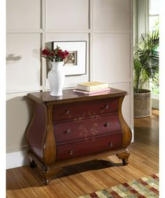 Hand-painted Ruby and Brown Bombay Chest | Overstock.com Shopping - The Best Deals on Coffee, Sofa & End Tables