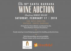 February 17, 2018 Santa Barbara Wine Auction to benefit Direct Relief.