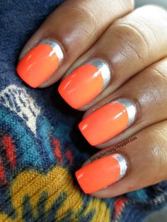 orange nails outline with silver - Fabulous Nails, Gorgeous Nails, Pretty Nails, Nail Art Designs, Nail Polish Designs, Jamberry Nails, Nail Manicure, Manicures, Hot Nails
