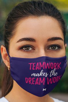 "This ""Teamwork Makes the Dream Work"" inspirational face mask is perfect for women who have trouble breathing in other masks. One size fits most adults. 2-layers, very thin & lightweight. If you are looking for inspirational masks, face masks with quotes, or love masks positive sayings - this inspiring ""Teamwork Makes the Dream Work"" mask for women is perfect for you. Hard Breathing, Inspirational Quotes Pictures, New Face, Inspire Others, Teamwork, Say Hello, Picture Quotes, Positive Quotes, Face Masks"