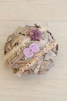 SET Handmade Lilac Color Newborn Blanket & 3 Matching Tiebacks / Newborn…