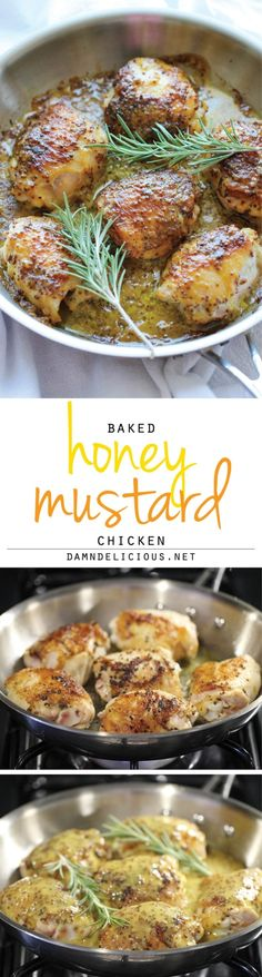 Baked Honey Mustard Chicken - The creamiest honey mustard chicken ever! It's so good, you'll want to eat the honey mustard itself with a spoon! The newest method in Absolutely safe and easy! Paleo Recipes, Dinner Recipes, Cooking Recipes, Paleo Meals, Bean Recipes, Creamy Honey Mustard Chicken, Honey Chicken, Baked Chicken, Chicken Sauce