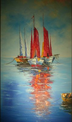 Make Your Art Successful – Create A Story With Your Drawing And Painting – Interesting Decor Seascape Paintings, Landscape Paintings, Sailboat Painting, Sailboat Art, Nautical Art, Ship Art, Acrylic Art, Art Oil, Painting Techniques