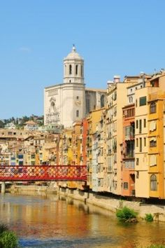 Girona, Spain. Cathedral and Eiffel Bridge constructed by Gustave Eiffel (before he constructed the Eiffel Tower in Paris)