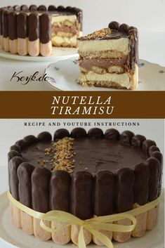 Nutella Tiramisu Charlotte Torte - Recipe with video instructions - Nutella Tir. - Nutella Tiramisu Charlotte Torte – Recipe with video instructions – Nutella Tiramisu Charlotte - Bolo Charlotte, Charlotte Torte, Charlotte Dessert, Quick Dessert Recipes, Easy No Bake Desserts, Easy Cake Recipes, Baking Recipes, Recipes Dinner, Pasta Recipes