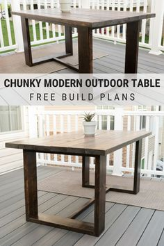 Build Your Own Outdoor Dining Table: Modern Outdoor Table Build Plans - DIY outdoor dining table build plans The Effectiv - Outdoor Wood Dining Table, Diy Outdoor Furniture, Modern Dining Table, Furniture Plans, Patio Dining, Refurbished Furniture, Dining Tables, Outdoor Table Plans, Diy Dining Room Table
