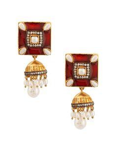 Lustrous Red Square Meenakari Jhumki Earrings