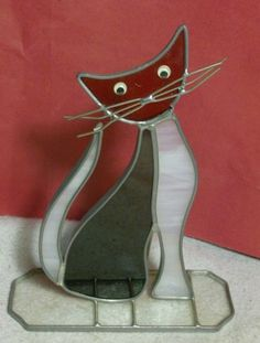 Handmade Stained Glass CAT Figure Kitten Cat by crownhill on Etsy, $5.99