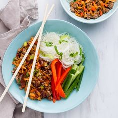 The Vietnamese lamb mince can be made in advance and heated up when ready to use. Use kitchen scissors to cut noodles in a few places to make them easier to eat. Lamb Mince Recipes, Health Bowls, Great Recipes, Favorite Recipes, Vermicelli Noodles, Healthy Food, Healthy Recipes, Lamb Shanks, Noodle Bowls