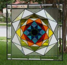 Kaleidoscope Beveled Stained Glass Window Panel Signed Numbered by Artist | eBay