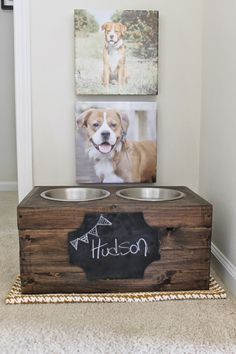 Personalized Pet Food Area with super cool DIY dog bowl setup. Good for a large dog, or set cat food up and away from little dogs who may want to eat it. (plus 10 more DIY food bowl area ideas) Dog Feeding Station, Pet Station, Diy Pet, Elevated Dog Bowls, Hudson Homes, Dog Rooms, Ideias Diy, Dog Houses, Diy Stuffed Animals