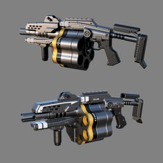 autodesk - Grenadier based on concept by Ryan Lastimosa Sci Fi Weapons, Weapon Concept Art, Armor Concept, Weapons Guns, Fantasy Weapons, Guns And Ammo, Arsenal, Future Weapons, Assault Weapon