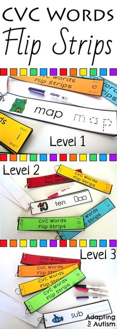 Give this CVC words activity a try in your special education classroom.  Laminate the strips and use a dry erase marker to make this a great reusable independent work task.  Students look at the picture, read and write the CVC word.  Includes three levels